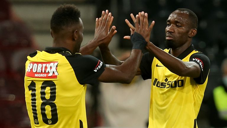 Jean-Pierre Nsame and Nicolas Moumi Ngamaleu celebrate for Young Boys