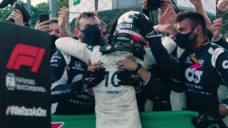 Sky F1's Jenson Button sat down with AlphaTauri driver Pierre Gasly to relive his first Podium win in F1.