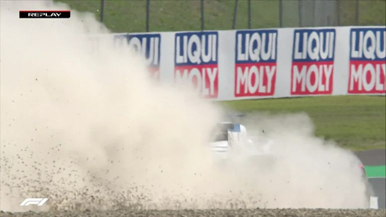 Watch as George Russell runs off track through the gravel - but still goes faster - on his final lap of Q1