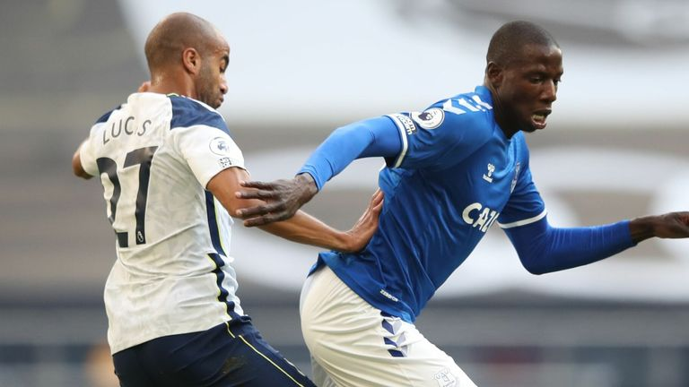 Abdoulaye Doucoure is closed down by Moura during the first half
