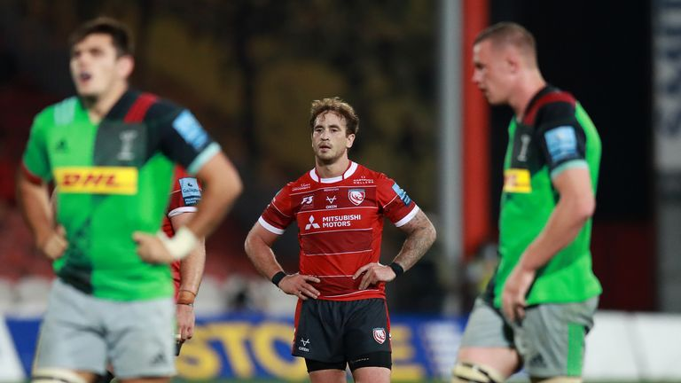 A frustrated Danny Cipriani looks on during the game
