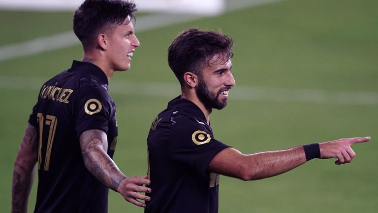 Diego Rossi celebrates with Brian Rodriguez. Pic: USA Today/MLSSoccer