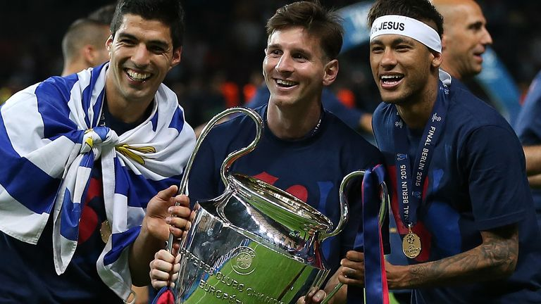 Suarez won the Champions League, La Liga and the Copa del Rey, alongside Messi and Neymar in his first season at the club