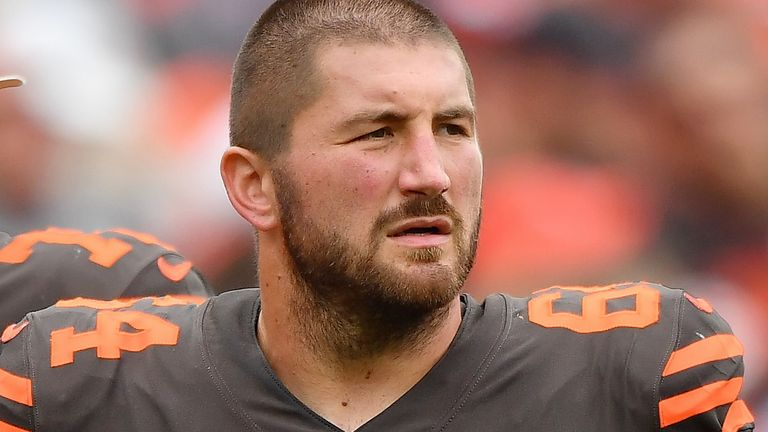 JC Tretter plays center for the Cleveland Browns