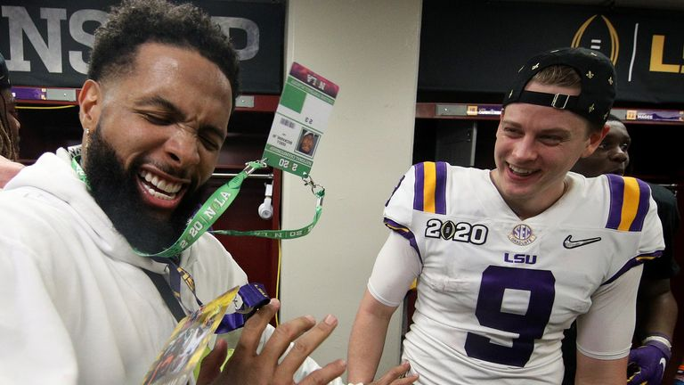 Odell Beckham Jr and Joe Burrow celebrate the LSU national championship win in January