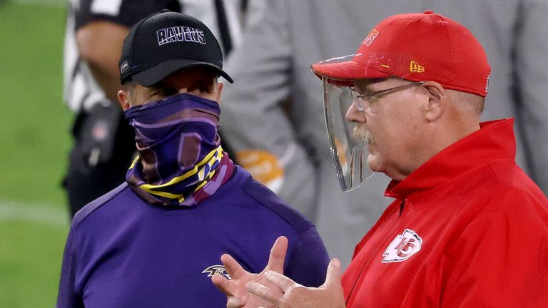 Head coaches John Harbaugh of the Baltimore Ravens and Andy Reid of the Kansas City Chiefs both wore face coverings during Monday Night's game