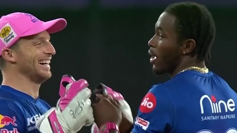 Jofra Archer celebrates with Rajasthan Royals team-mate Jos Buttler after dismissing Kolkata Knight Riders' Shubman Gill