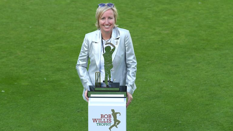 Lauren Clark with the Bob Willis Trophy, named in honour of her late husband