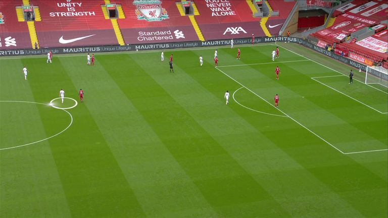 Luke Ayling (circled) man-marks Sadio Mane at the Liverpool throw-in