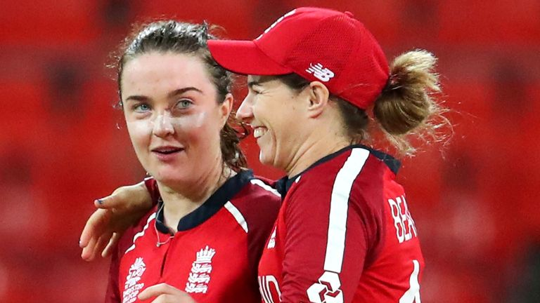 Mady Villiers and Tammy Beaumont share a joke during England's run to the T20 World Cup semi-finals earlier this year