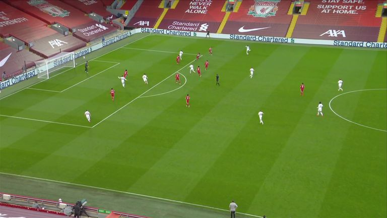 Leeds had four players in the box while the scorer Mateusz Klich enters late