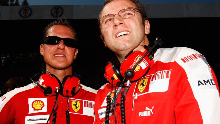Domenicali, then Ferrari team boss, with Michael Schumacher in 2009