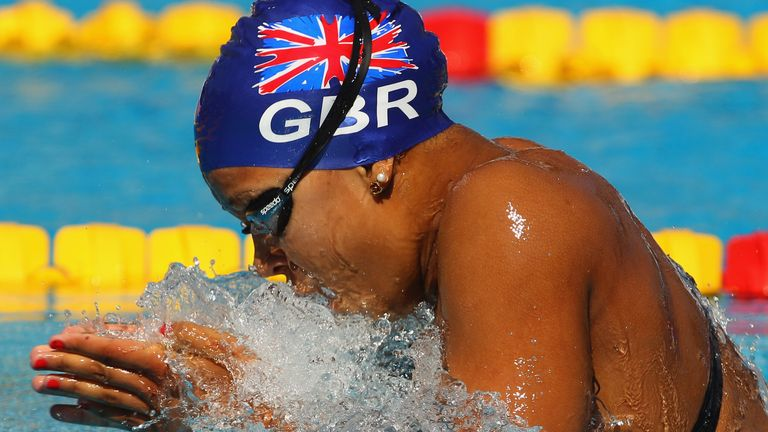 A British debut for Rebecca Achieng Ajulu-Bushell in the 100m breaststroke at the 2010 Europeans in Budapest