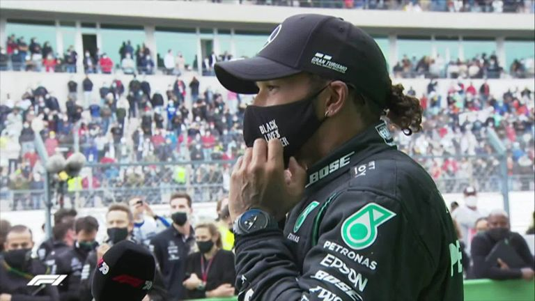 Lewis Hamilton speaks to Sky F1's Martin Brundle after making history and winning his 92nd F1 win.
