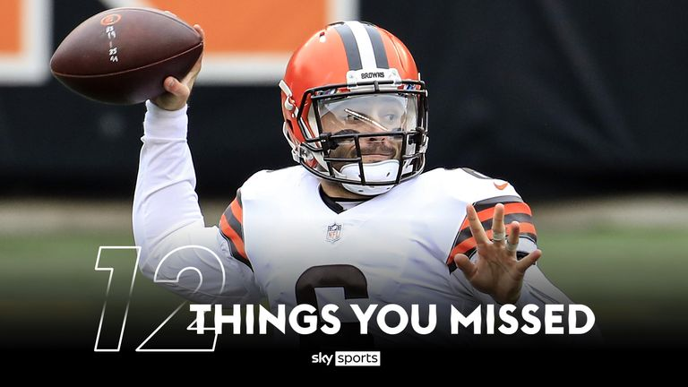 Baker Mayfield threw five touchdown passes in the Browns' win over the Bengals on Sunday