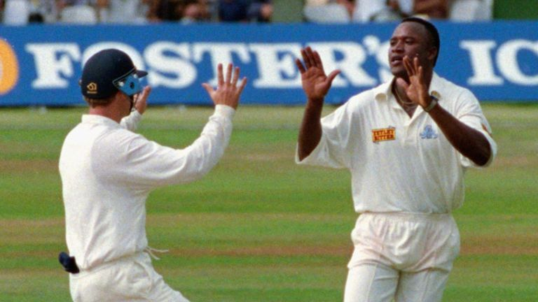 Malcolm celebrates a wicket during his 9-57 against South Africa in 1994