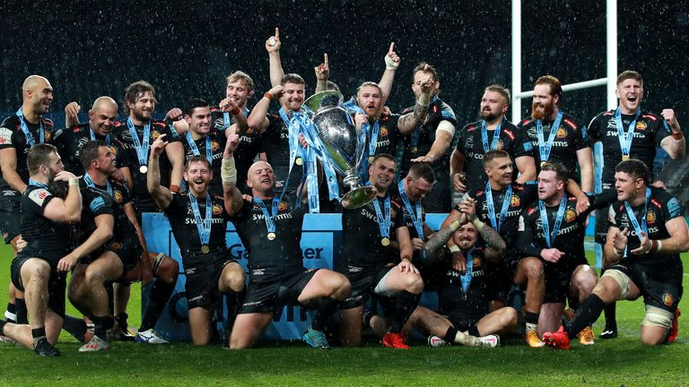 Exeter winning the Premiership trophy