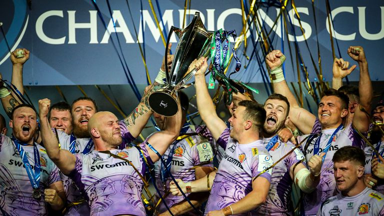 Exeter celebrates after winning the Heineken Champions Cup