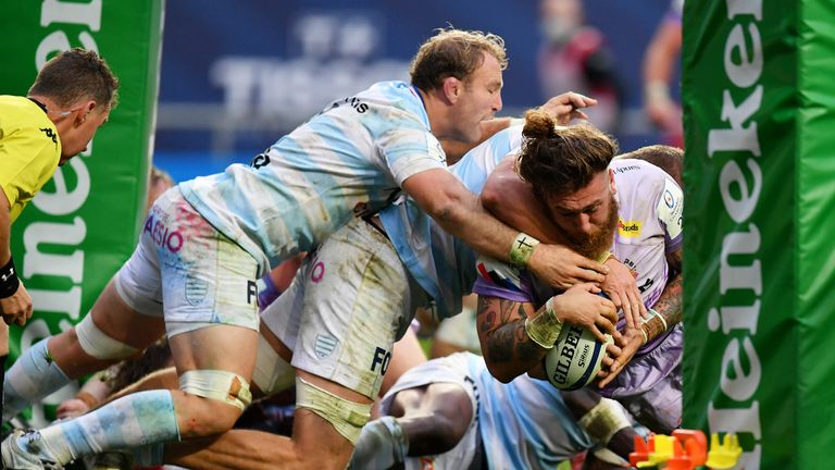 Harry Williams scores Exeter's third try