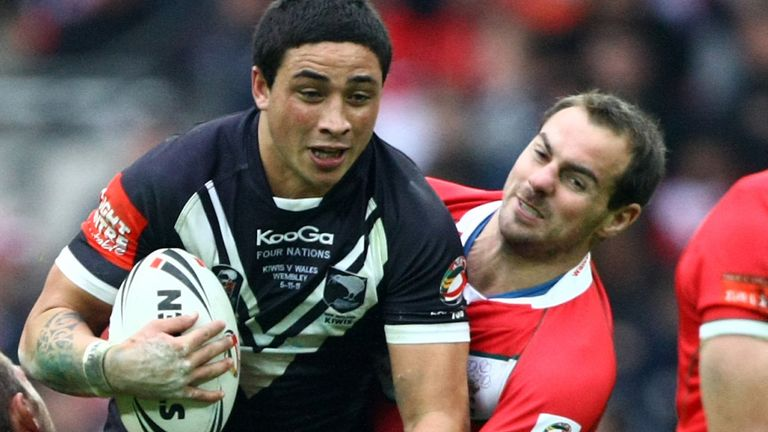 Watson gets to grips with New Zealand's Kevin Locke for Wales at Wembley in 2011