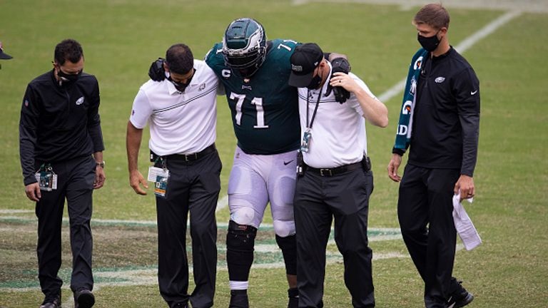 Jason Peters was not able to finish the game against Cincinnati