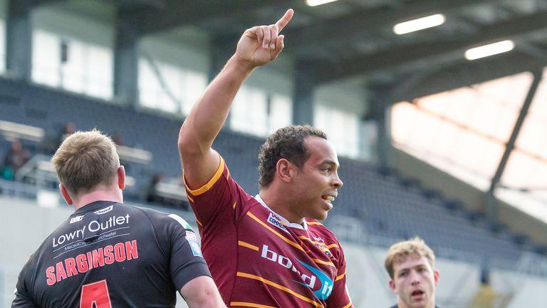 Leroy Cudjoe scored a try as Huddersfield went into the break in the lead