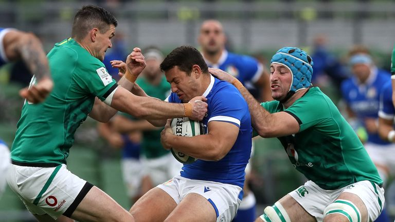 Will Connors (blue skullcap) earned man of the match on his Ireland debut, and scored a try