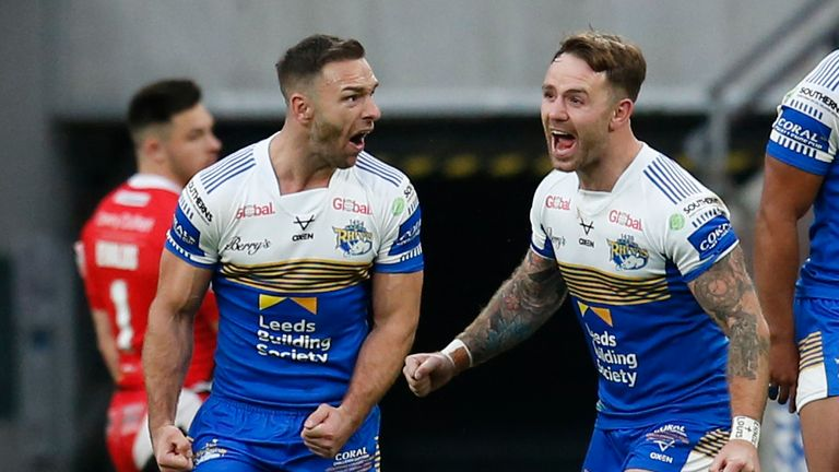 Luke Gale and Richie Myler celebrate Leeds' Challenge Cup final win