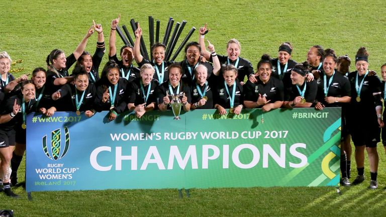 New Zealand celebrate after winning the 2017 Women's Rugby World Cup