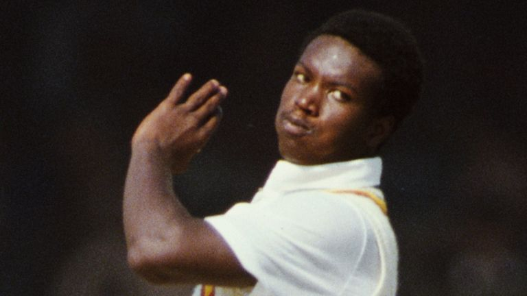 Norman Cowans - England's first fast bowler of Caribbean descent - in action during the fifth Test against India at Kanpur in February 1985
