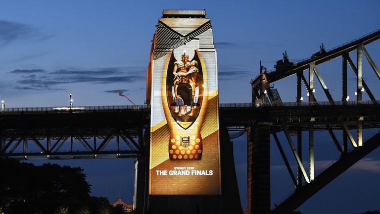 Sydney Harbour Bridge was lit up ahead of Sunday's NRL Grand Final