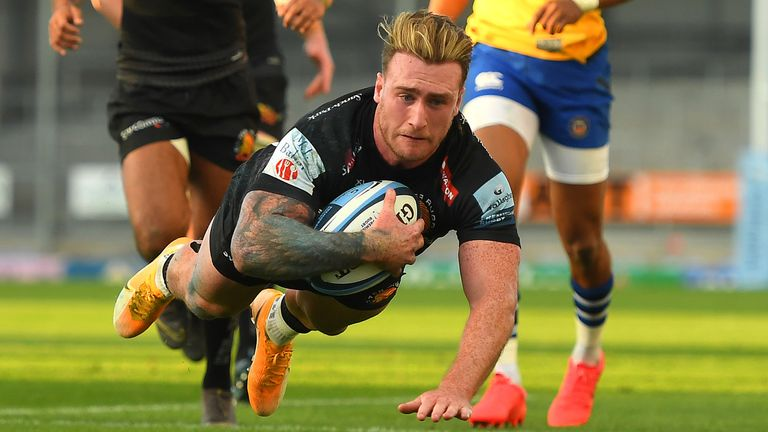 Stuart Hogg scored one of five Exeter tries as the Chiefs proved too strong for Bath in their Premiership semi-final