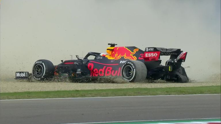 Max Verstappen's race is ended after suffering tyre problems in the Emilia-Romagna Grand Prix
