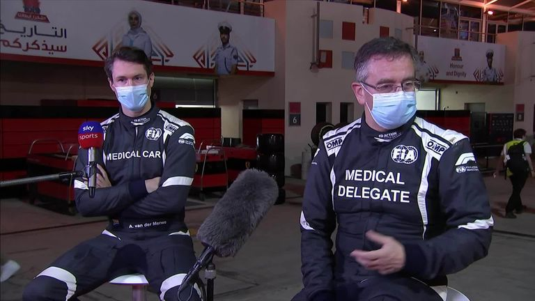 Alan van der Merwe, the driver of the FIA's medical car, and Dr Ian Roberts, FIA doctor, speak to Sky Sports F1 after helping rescue Romain Grosjean at the Bahrain GP.