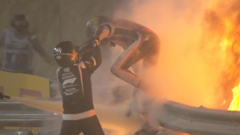 Warning: Video shows footage of Haas driver Romain Grosjean's high-speed crash and escape in the Bahrain GP.