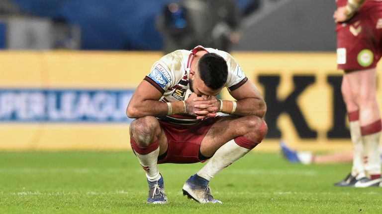 Wigan's Bevan French looks dejected after the loss
