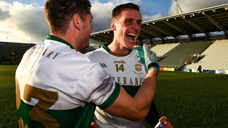 Conor Sweeney celebrates the victory