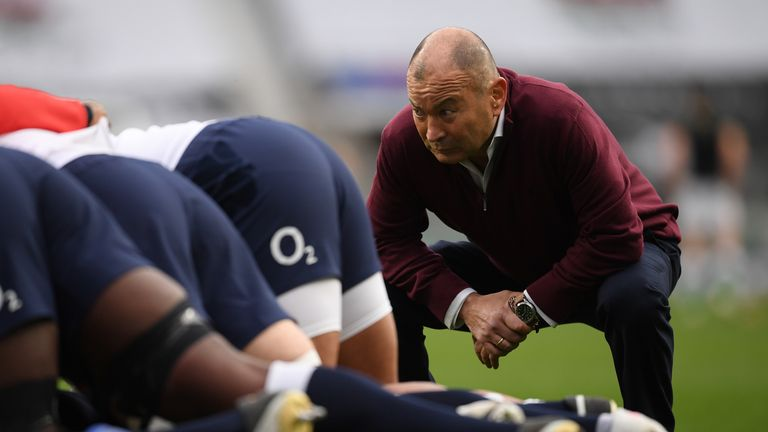 Jones watches on during the warm-ups before England's win over Ireland
