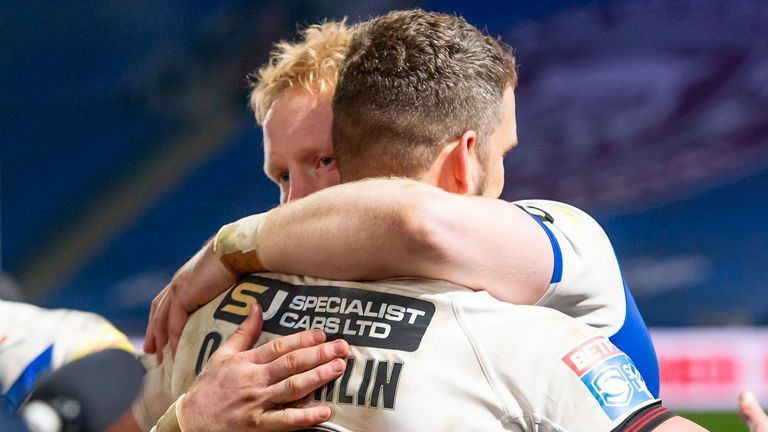 Retiring duo James Graham and Sean O'Loughlin embrace at the end of the game