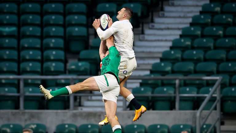May did outstandingly well to tower over Hugo Keenan in the air for the opening try
