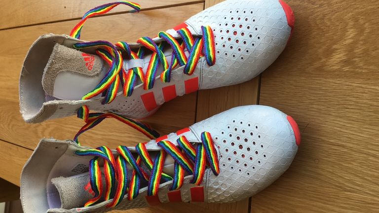 Fraser said 'I'm not going to hide who I am' when she made Rainbow Laces part of her fight kit