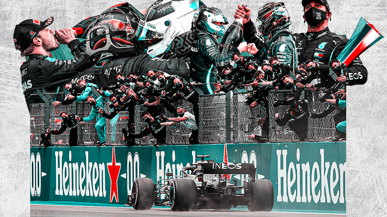 Lewis Hamilton wins the Emilia-Romagna Grand Prix as Mercedes clinch the Constructors' Championship for a record seventh year in a row