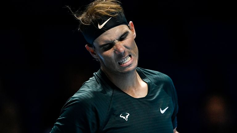 Rafael Nadal celebrates his victory over Andrey Rublev at the ATP Finals