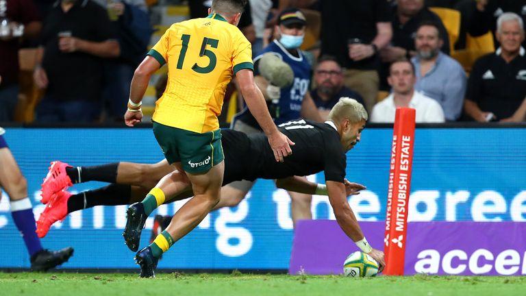 Rieko Ioane scores in the corner for the All Blacks