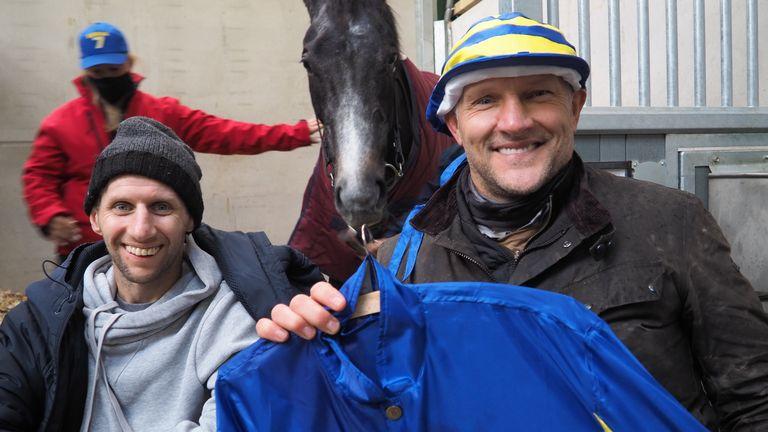 Burrow and Barrie McDermott with Burrow Seven's blue and gold jockey silks