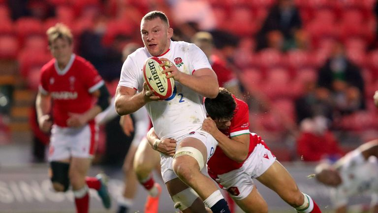 Sam Underhill in action for England