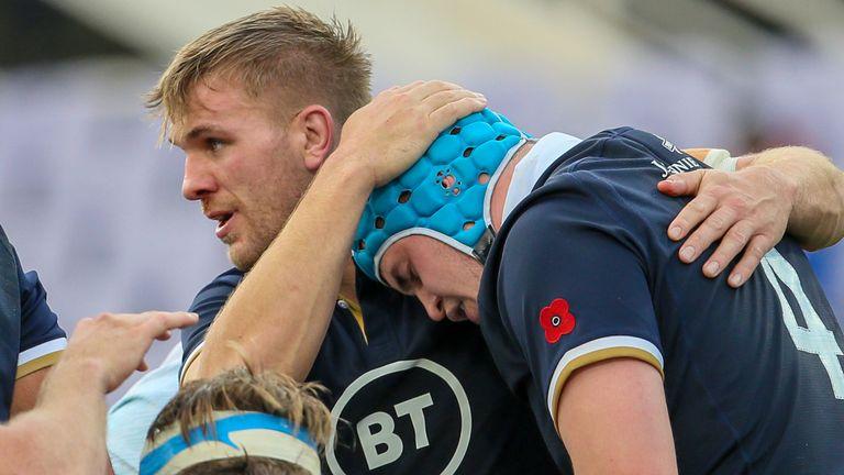 Scotland celebrate Scott Cummings' second-half try against Italy