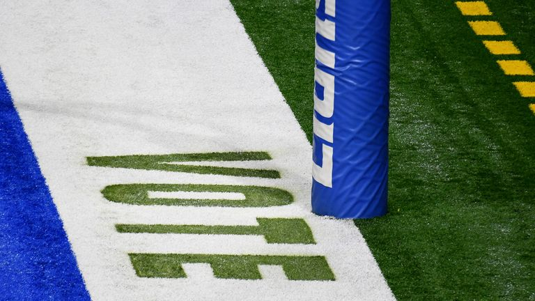 """""""Vote"""" painted in the endzone prior to the game between the Detroit Lions and the Indianapolis Colts"""