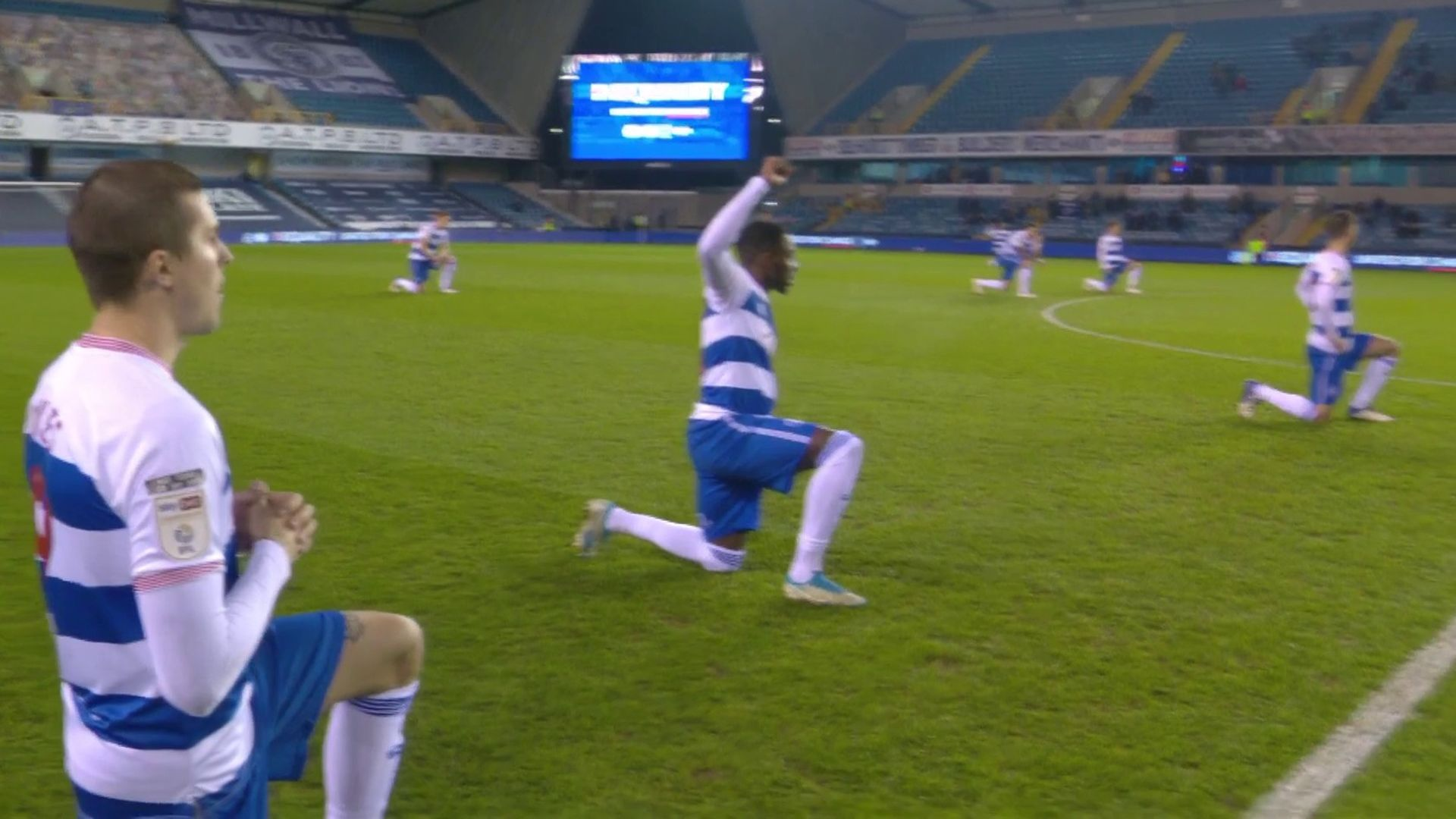 Millwall fans applaud as team stands while QPR take knee