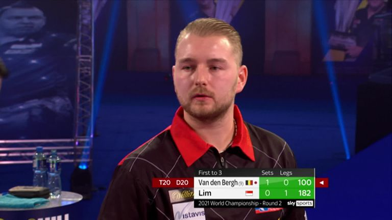 Watch as Dimitri Van den Bergh hits 100 and  121 finishes in the second set against Paul Lim.